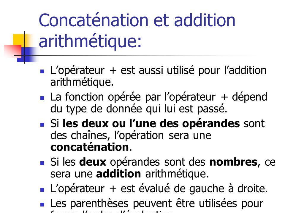Concaténation et addition arithmétique: