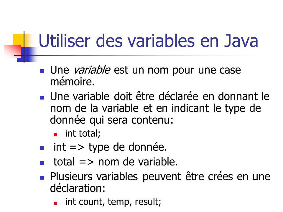 Utiliser des variables en Java