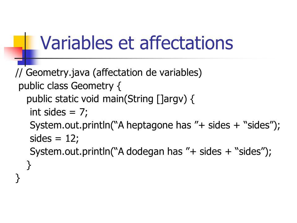 Variables et affectations