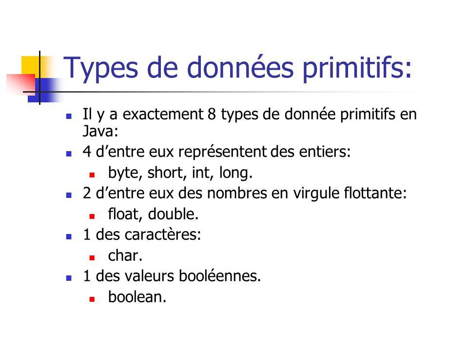 Types de données primitifs: