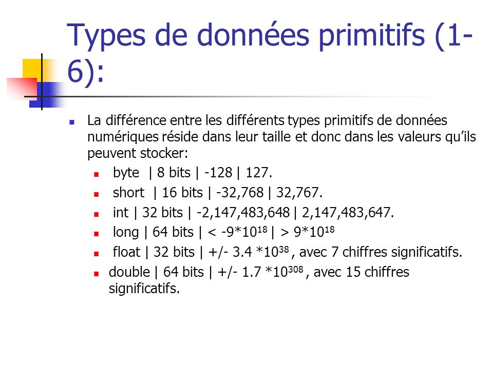 Types de données primitifs (1-6):