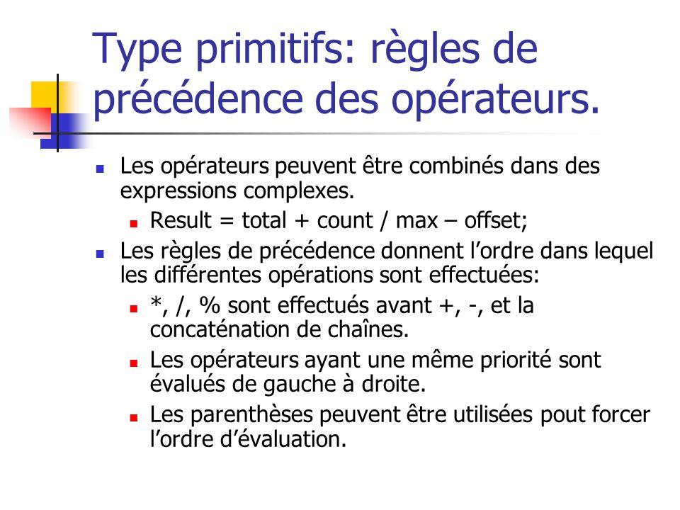 Type primitifs: règles de précédence des opérateurs.