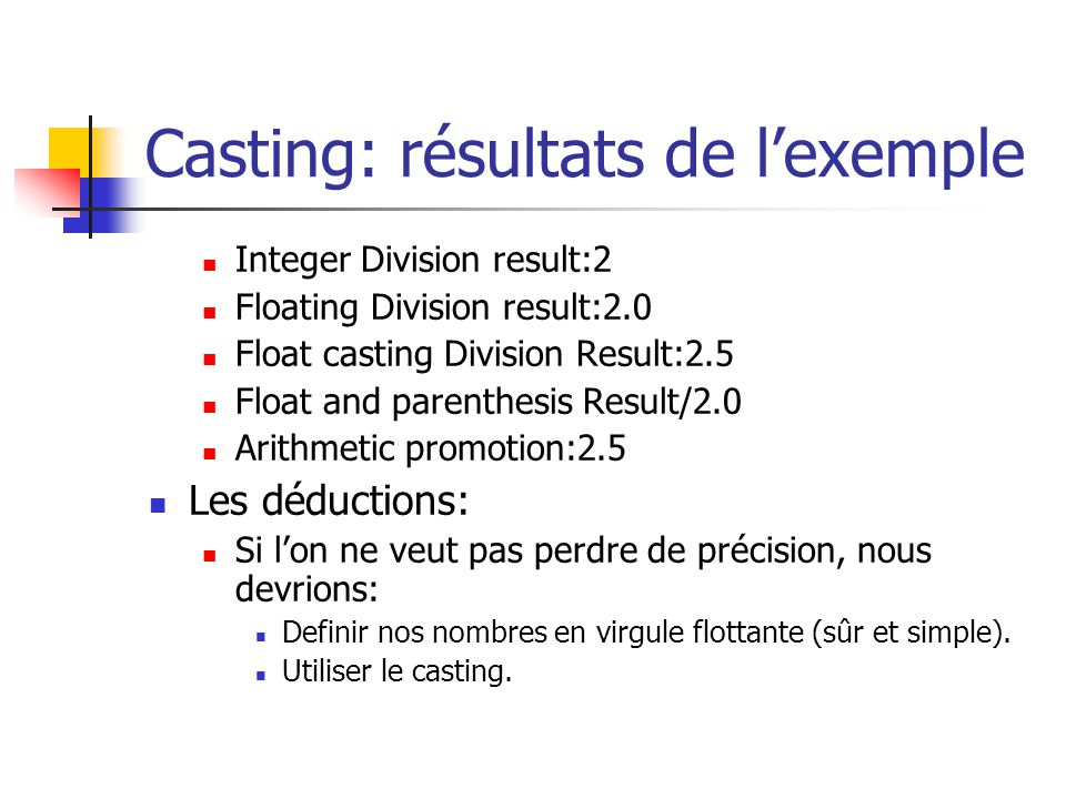 Casting: résultats de l'exemple