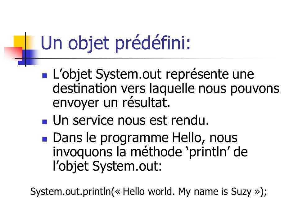 Un objet prédéfini: L'objet System.out représente une destination vers laquelle nous pouvons envoyer un résultat.