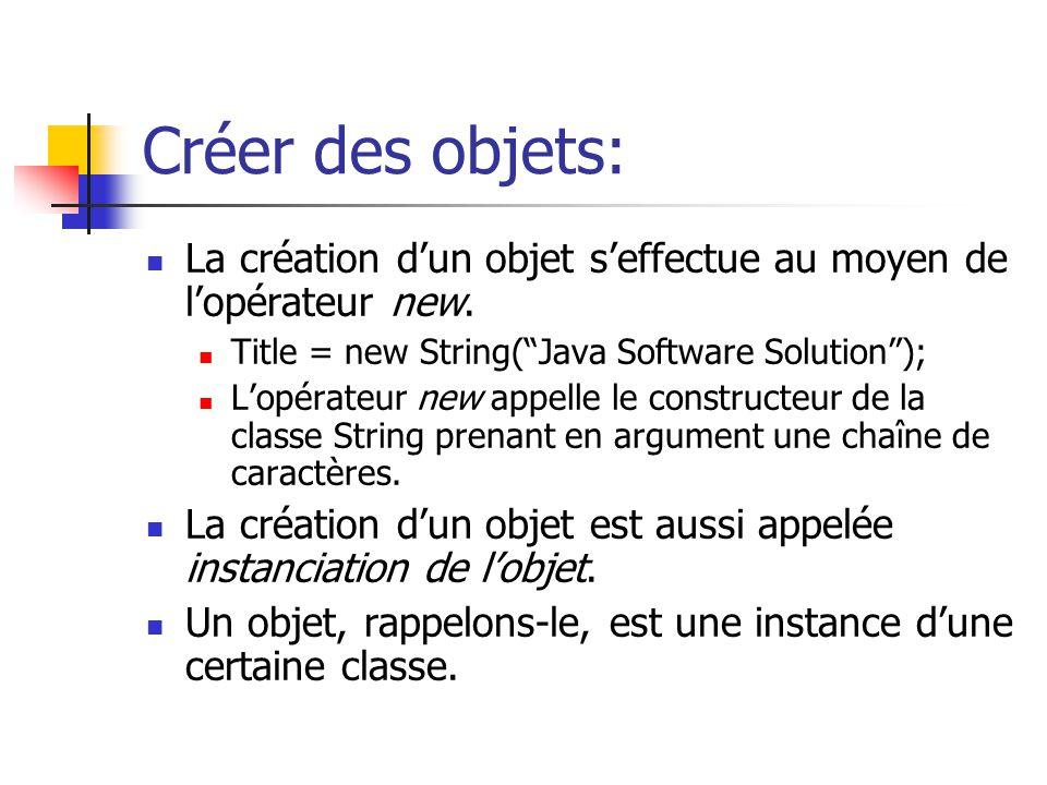 Créer des objets: La création d'un objet s'effectue au moyen de l'opérateur new. Title = new String( Java Software Solution );