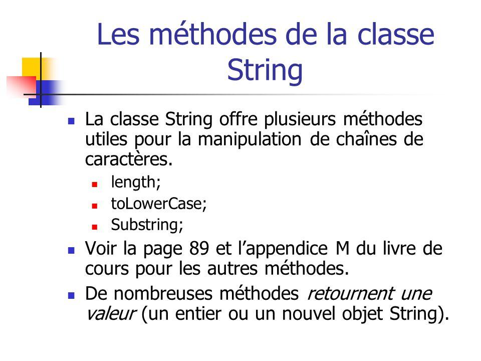 Les méthodes de la classe String