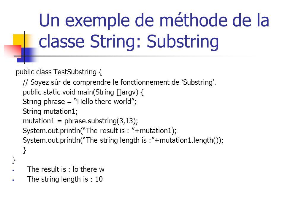 Un exemple de méthode de la classe String: Substring