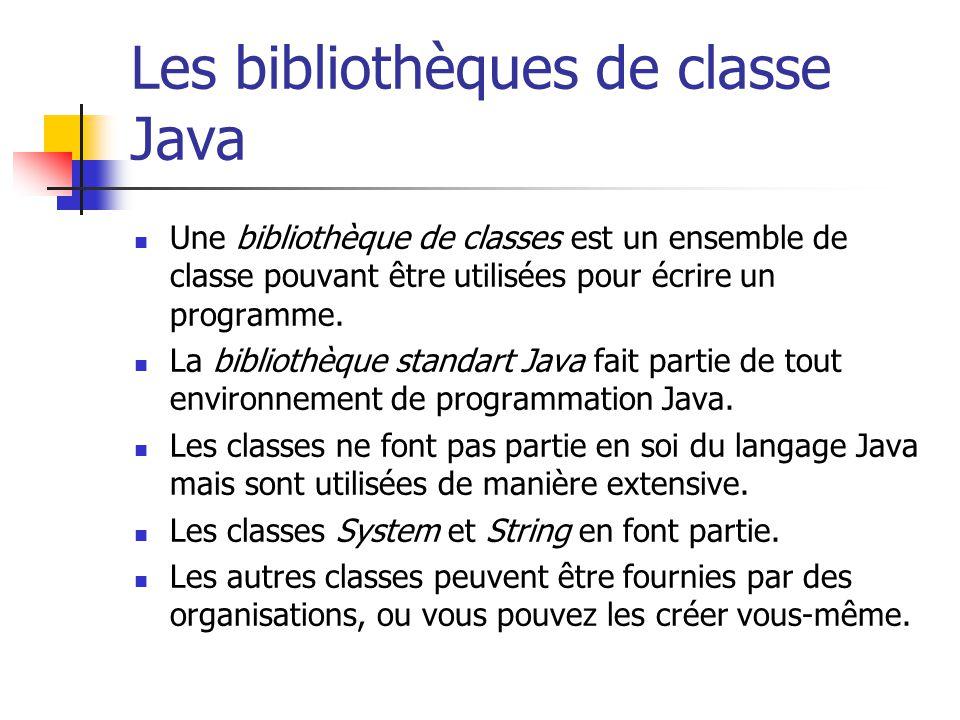 Les bibliothèques de classe Java