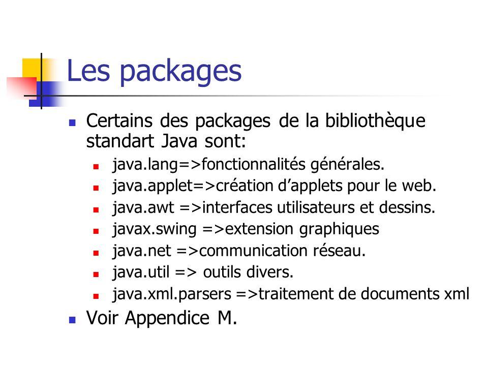 Les packages Certains des packages de la bibliothèque standart Java sont: java.lang=>fonctionnalités générales.