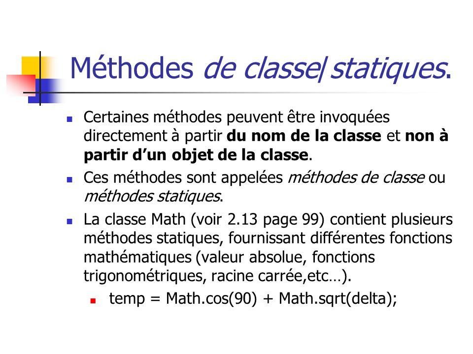 Méthodes de classe/statiques.