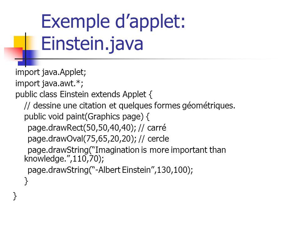 Exemple d'applet: Einstein.java