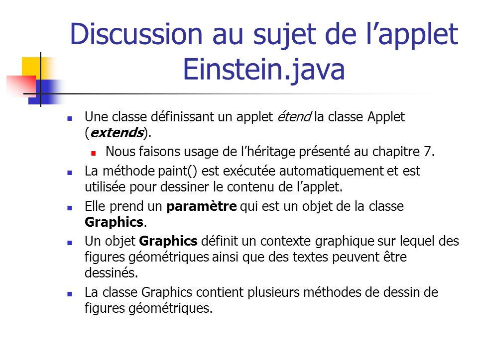 Discussion au sujet de l'applet Einstein.java