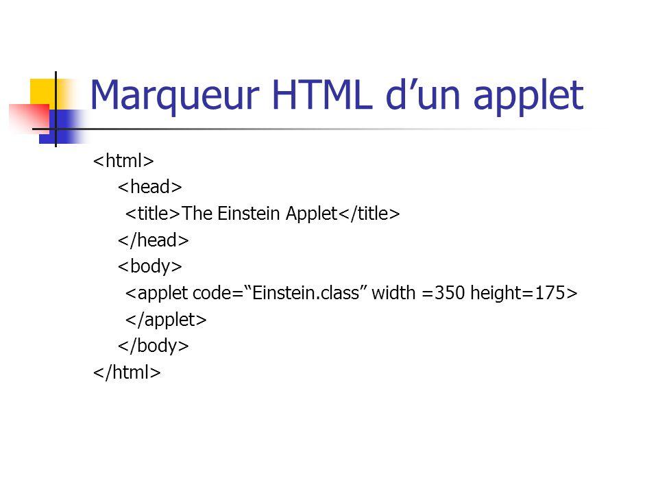 Marqueur HTML d'un applet