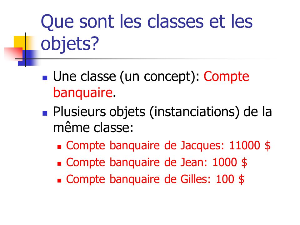 Que sont les classes et les objets