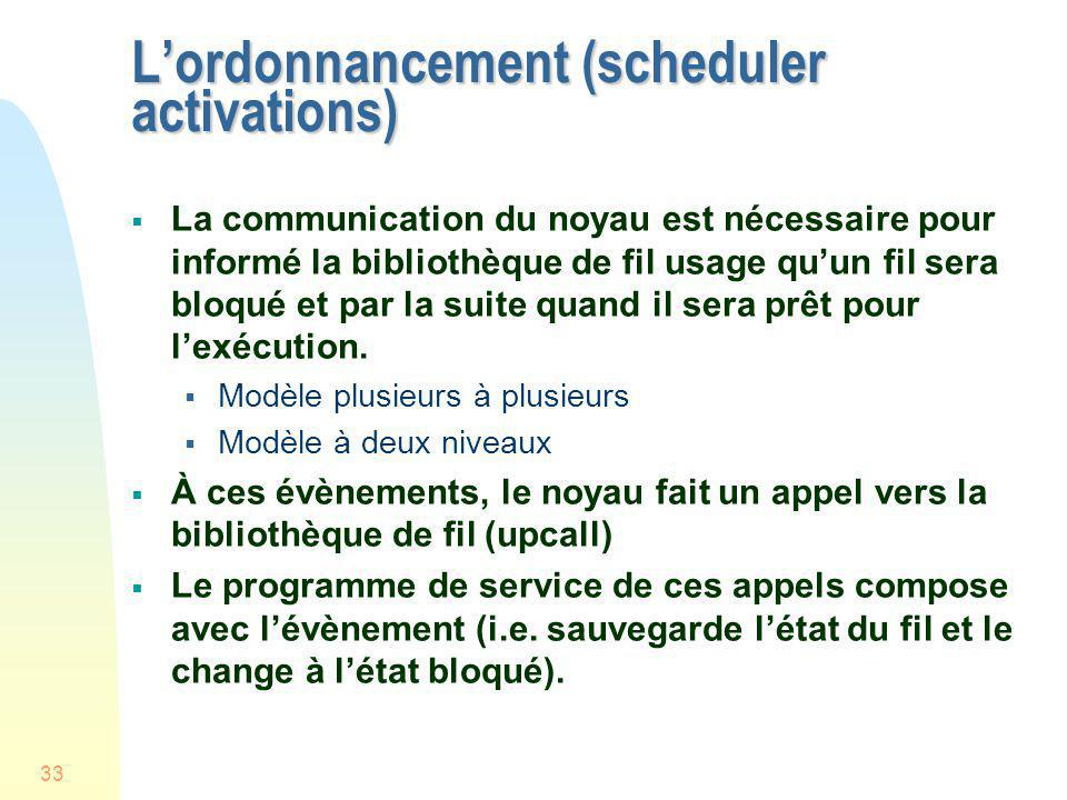L'ordonnancement (scheduler activations)