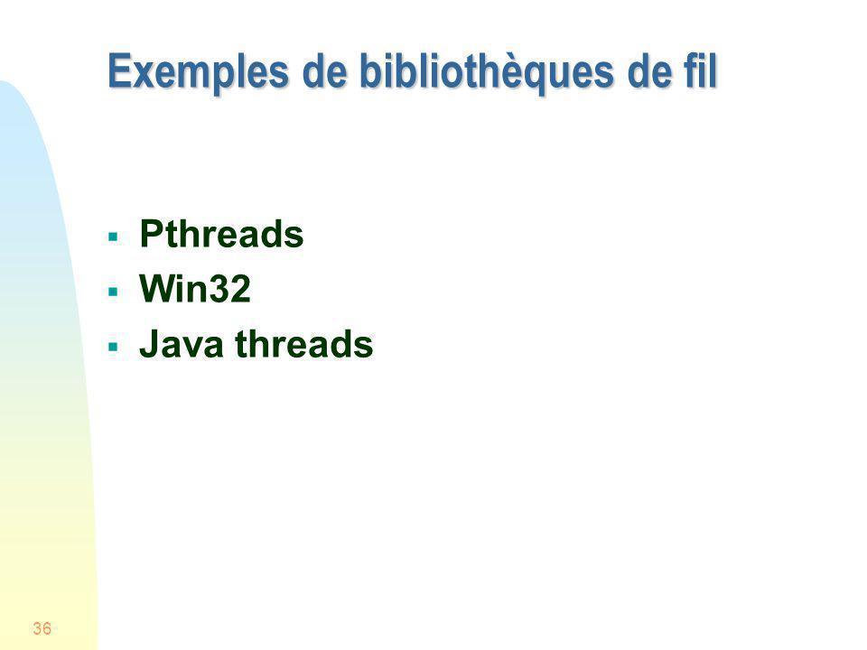 Exemples de bibliothèques de fil