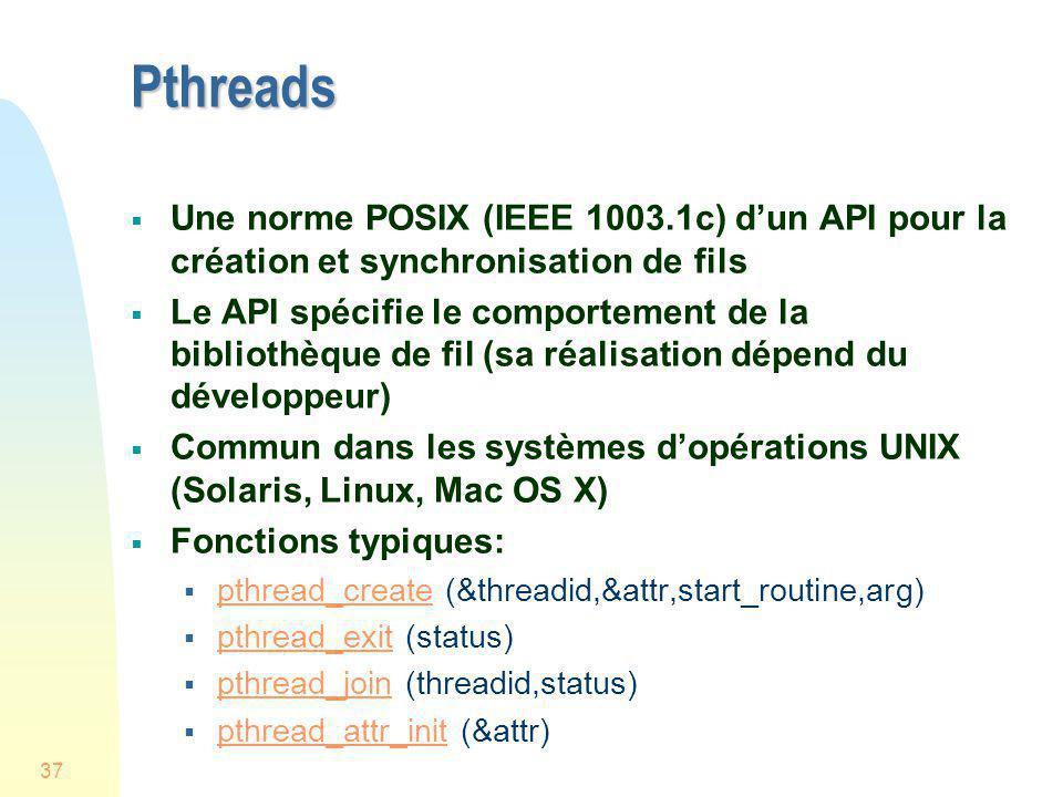 Pthreads Une norme POSIX (IEEE 1003.1c) d'un API pour la création et synchronisation de fils.