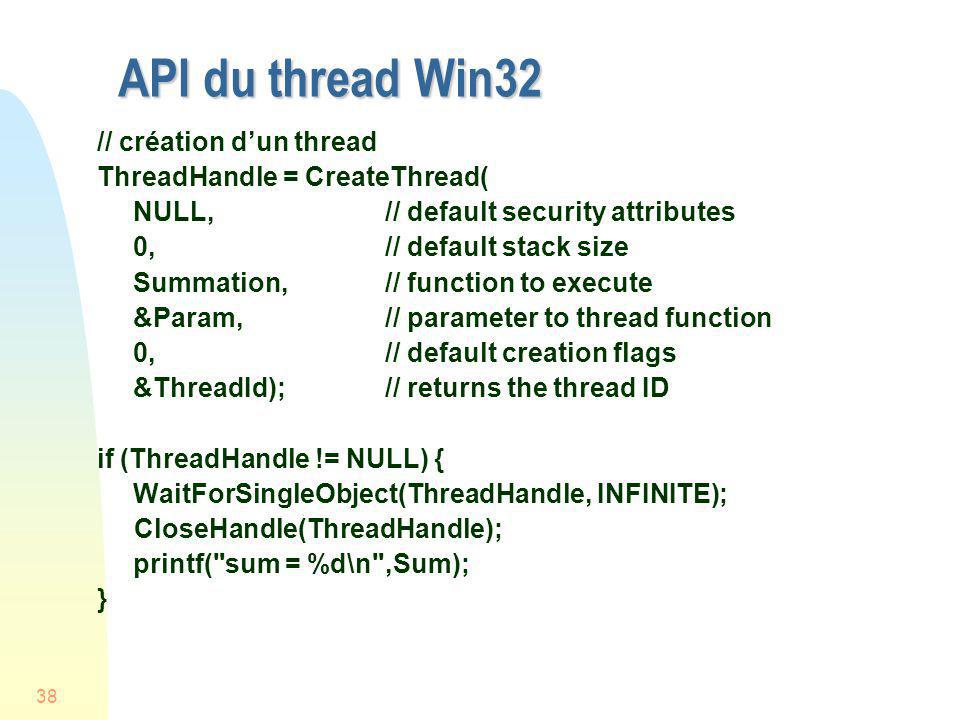 API du thread Win32 // création d'un thread