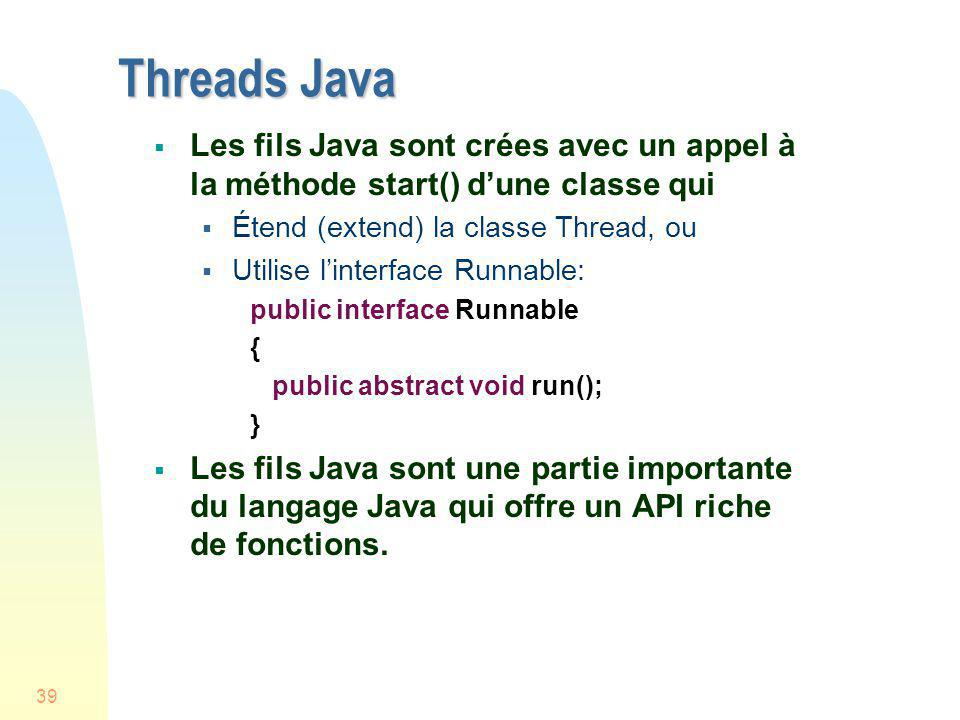 Threads Java Les fils Java sont crées avec un appel à la méthode start() d'une classe qui. Étend (extend) la classe Thread, ou.