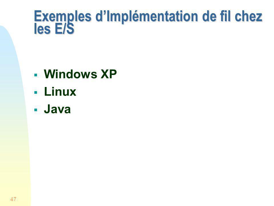 Exemples d'Implémentation de fil chez les E/S