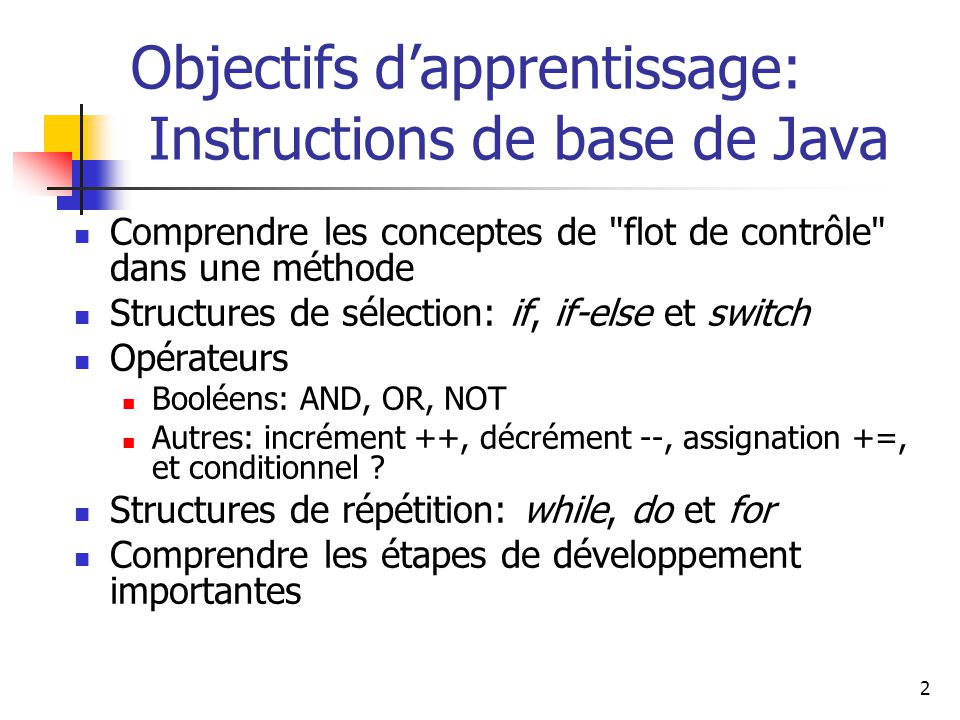 Objectifs d'apprentissage: Instructions de base de Java
