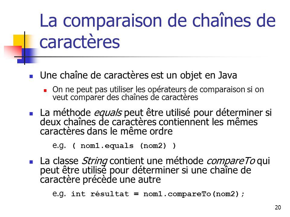 La comparaison de chaînes de caractères