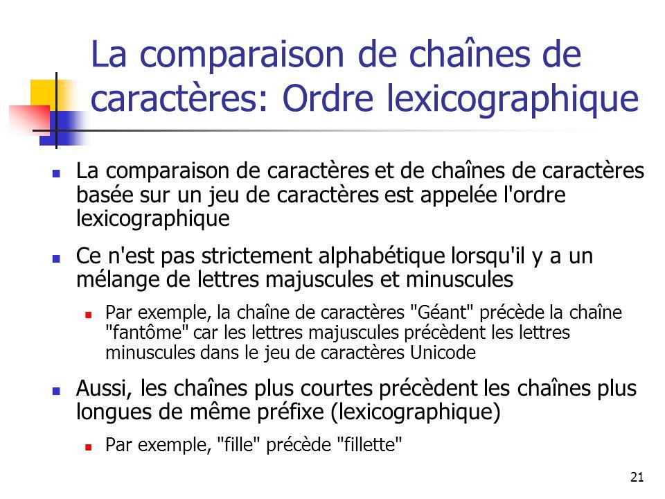 La comparaison de chaînes de caractères: Ordre lexicographique