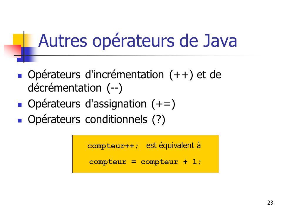 Autres opérateurs de Java
