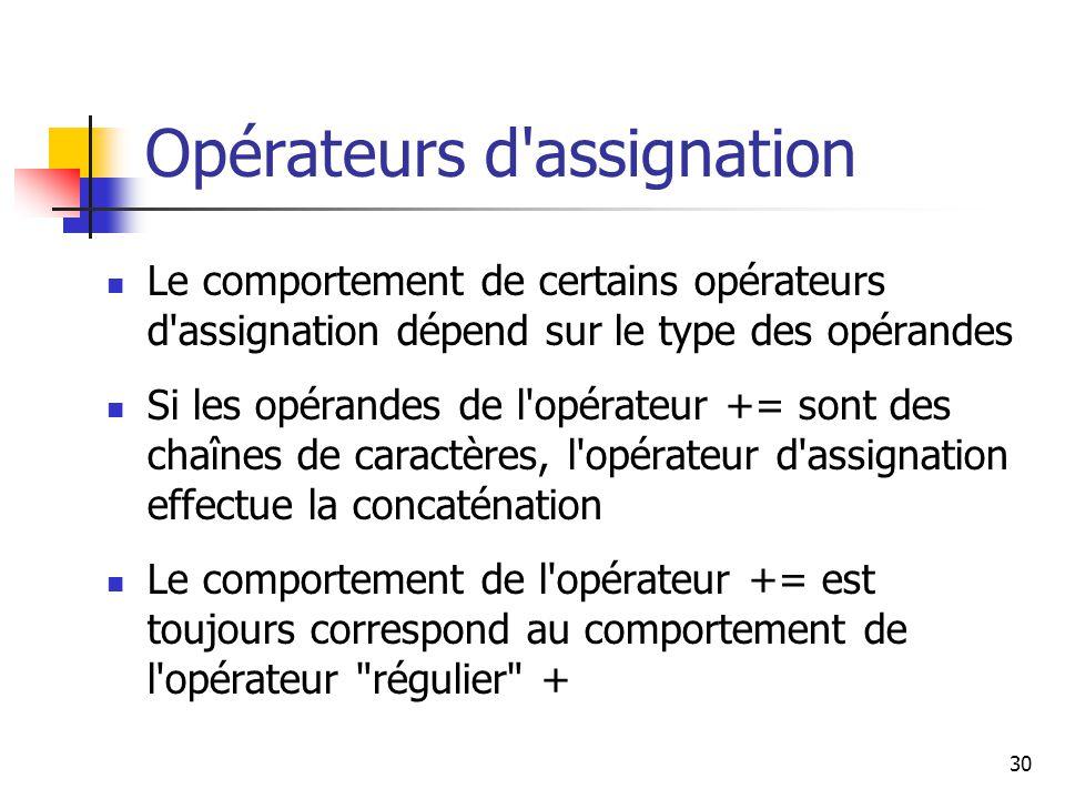 Opérateurs d assignation