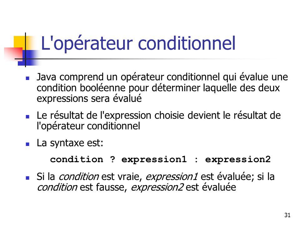 L opérateur conditionnel