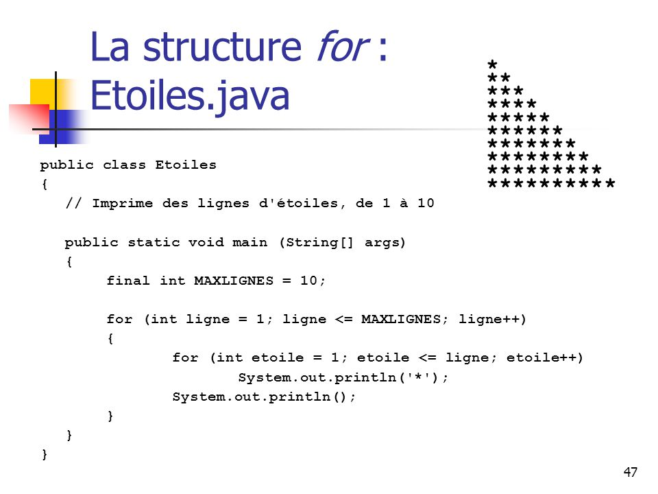 La structure for : Etoiles.java