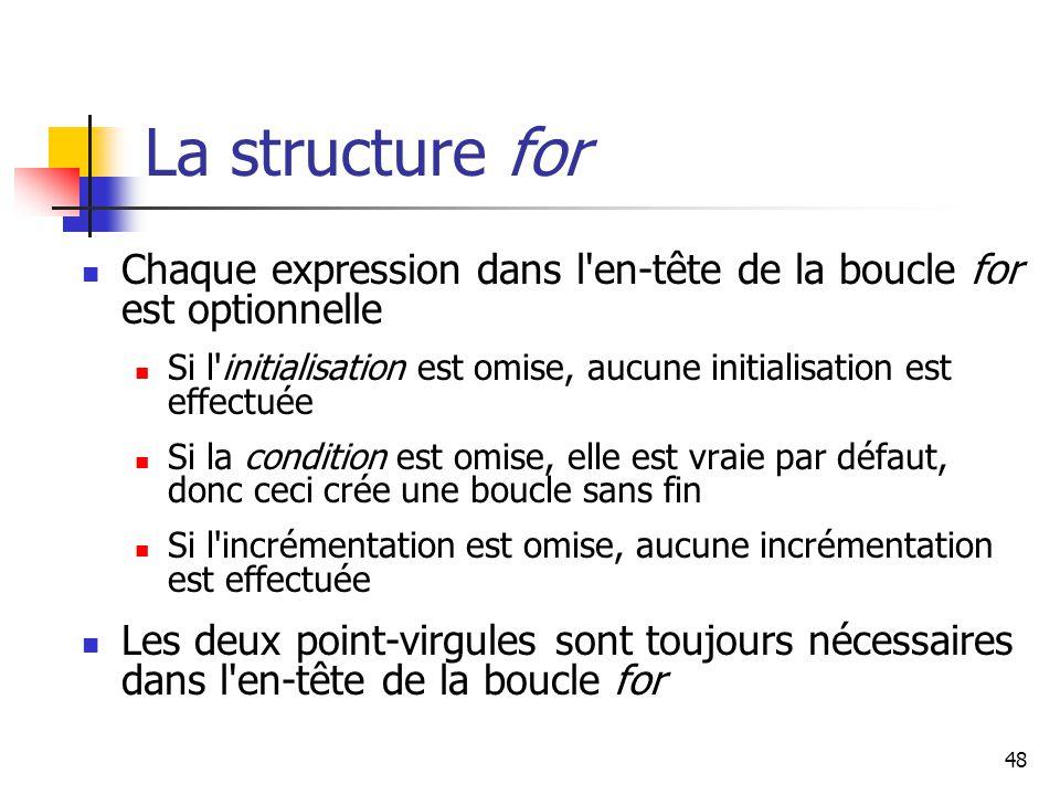 La structure for Chaque expression dans l en-tête de la boucle for est optionnelle.