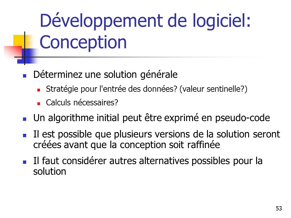 Développement de logiciel: Conception