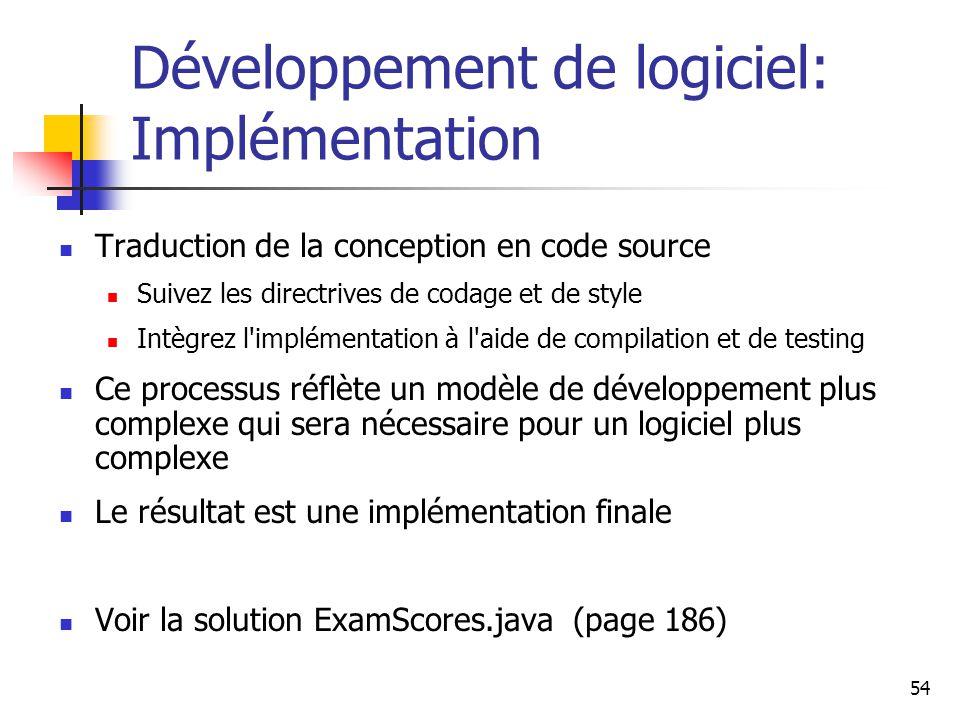 Développement de logiciel: Implémentation