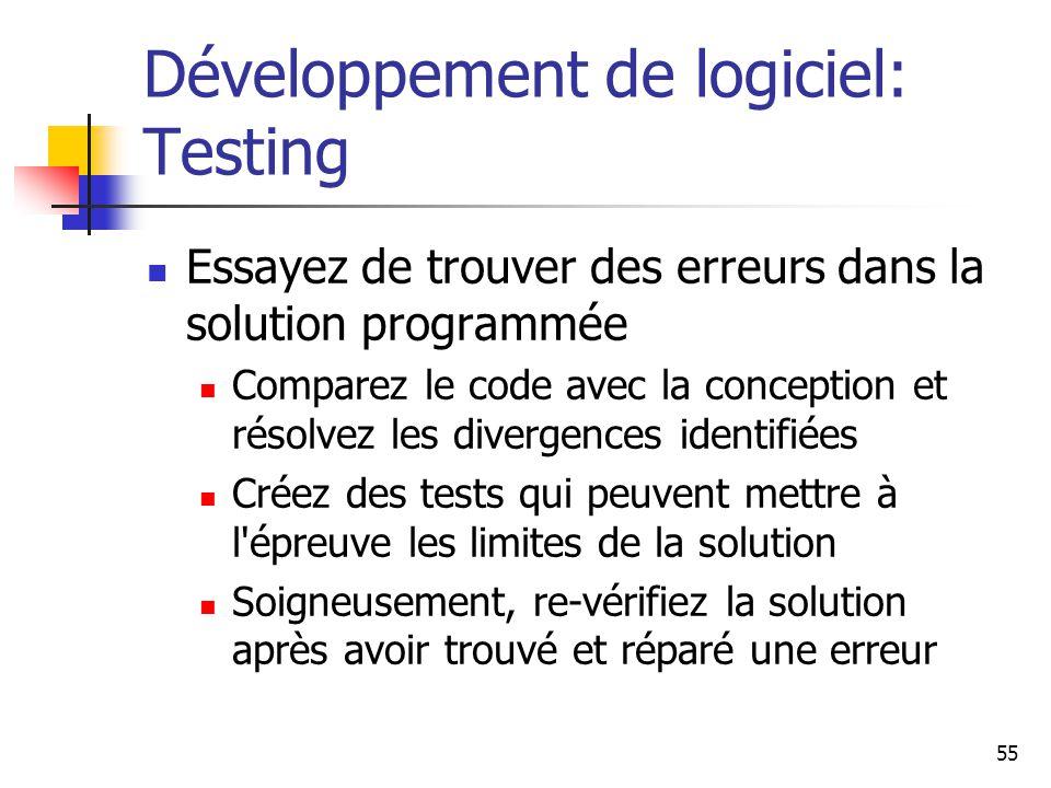 Développement de logiciel: Testing