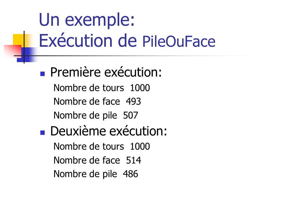 Un exemple: Exécution de PileOuFace