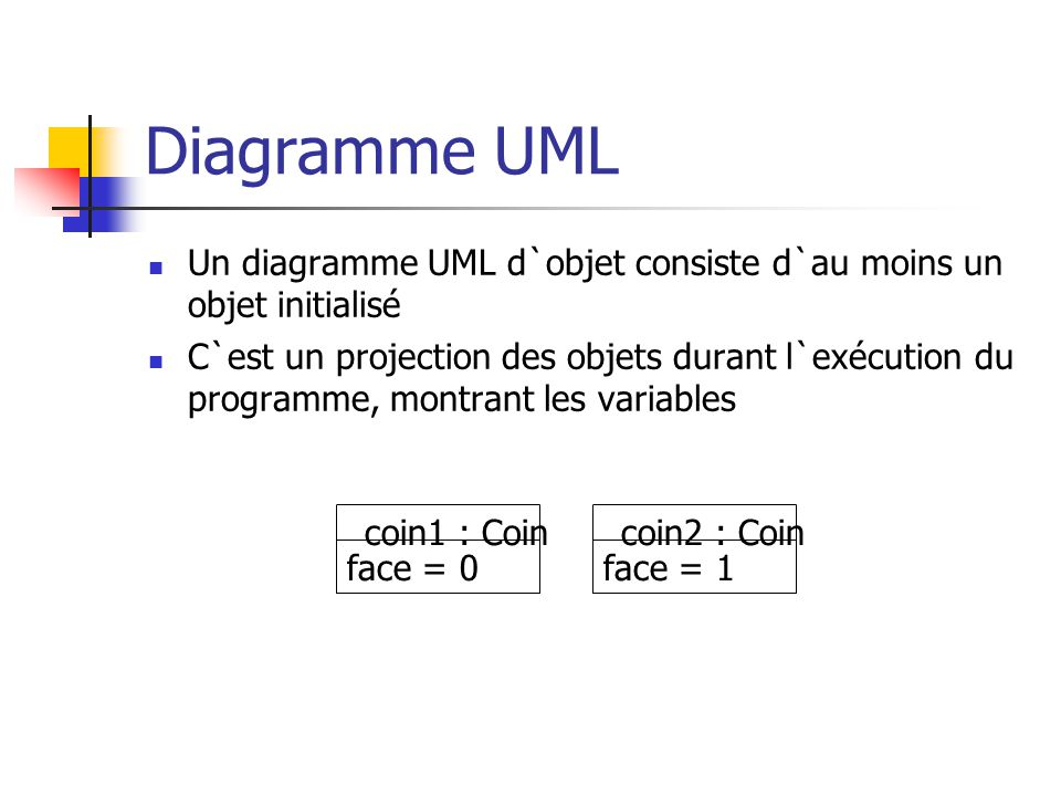 Diagramme UML Un diagramme UML d`objet consiste d`au moins un objet initialisé.