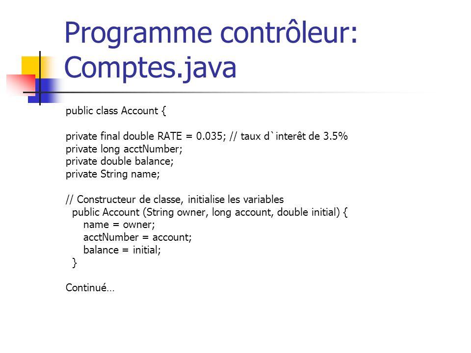 Programme contrôleur: Comptes.java