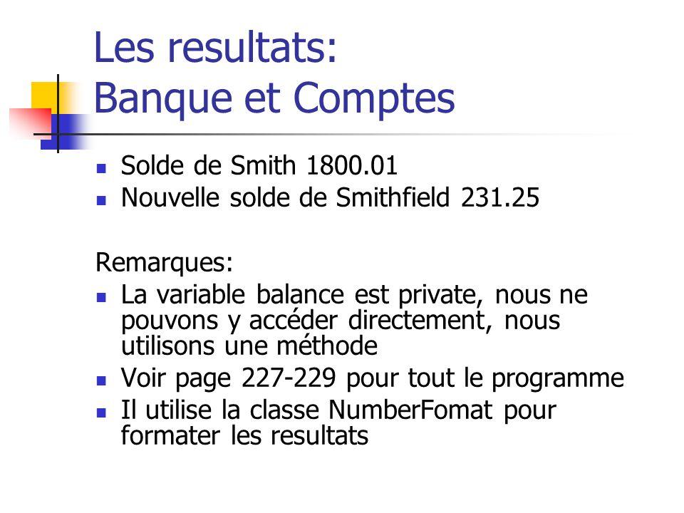Les resultats: Banque et Comptes