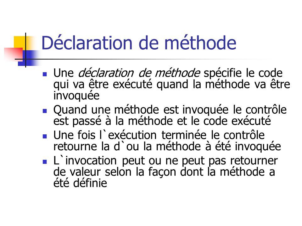Déclaration de méthode