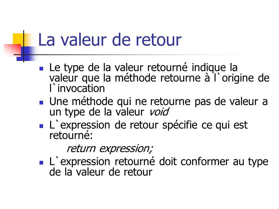 La valeur de retour Le type de la valeur retourné indique la valeur que la méthode retourne à l`origine de l`invocation.