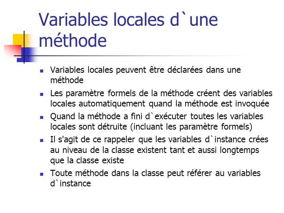 Variables locales d`une méthode
