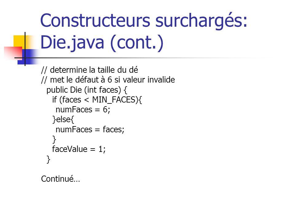 Constructeurs surchargés: Die.java (cont.)