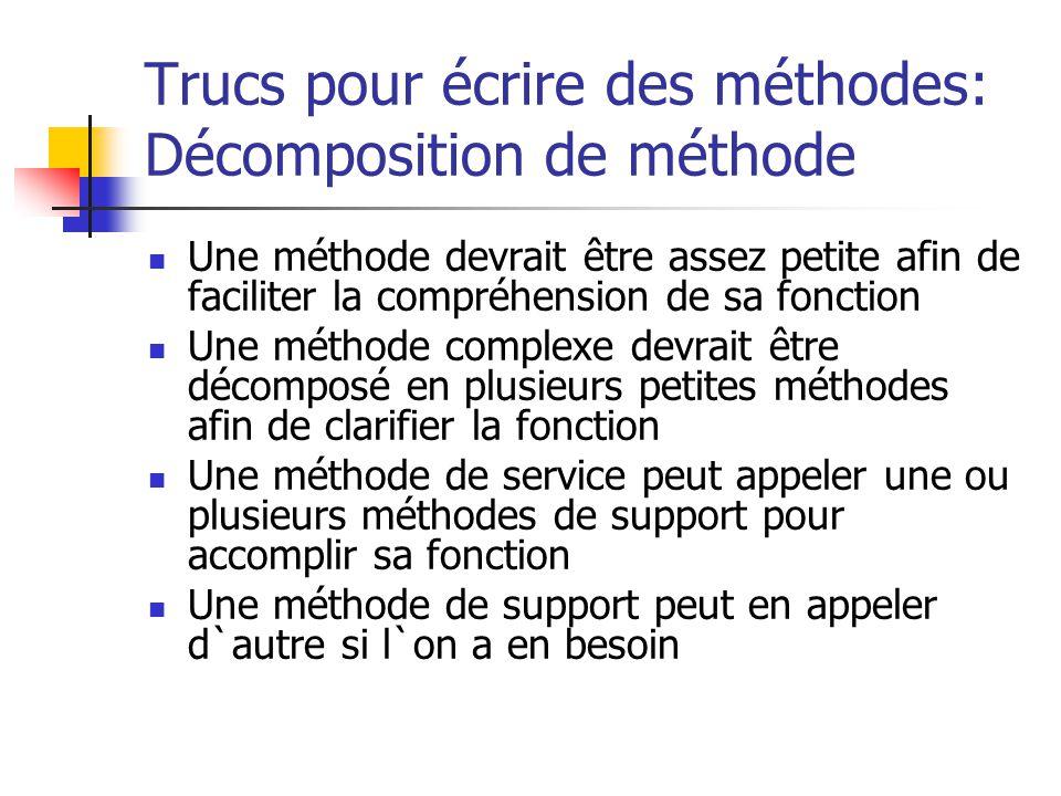 Trucs pour écrire des méthodes: Décomposition de méthode