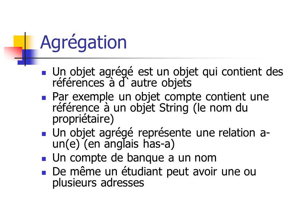 Agrégation Un objet agrégé est un objet qui contient des références à d`autre objets.