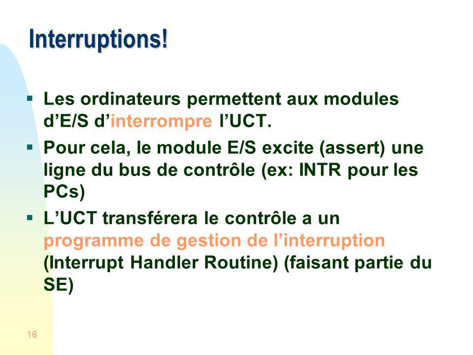 Interruptions! Les ordinateurs permettent aux modules d'E/S d'interrompre l'UCT.