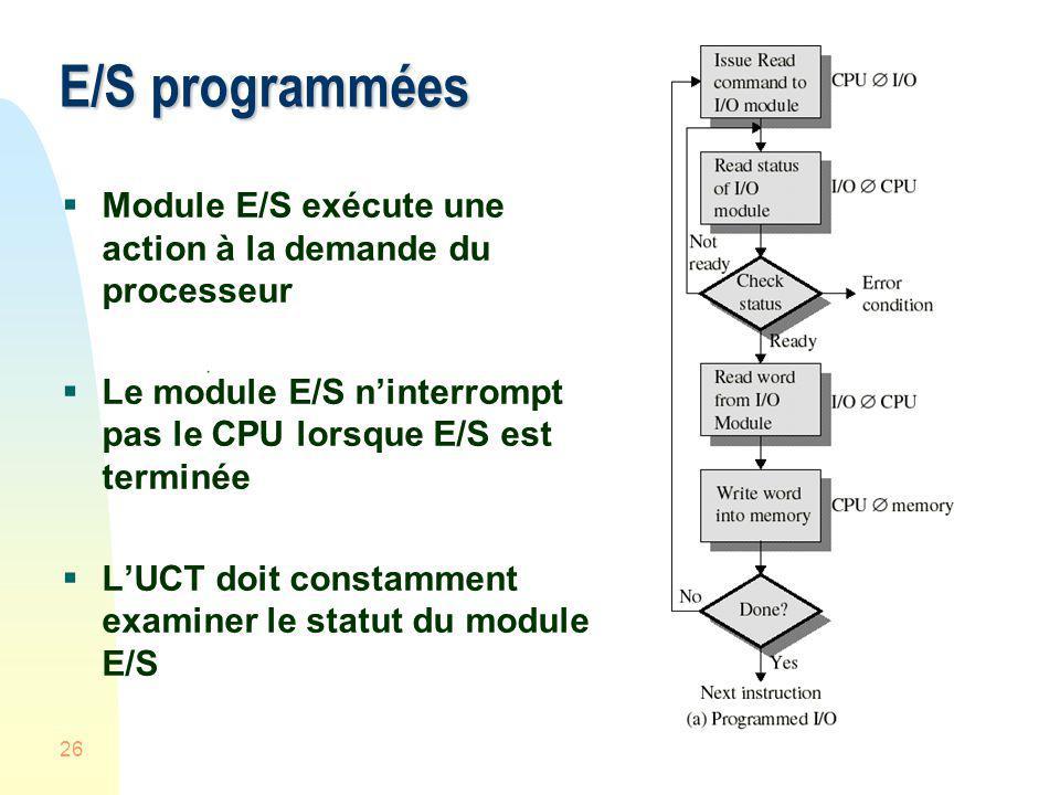 E/S programmées Module E/S exécute une action à la demande du processeur. Le module E/S n'interrompt pas le CPU lorsque E/S est terminée.