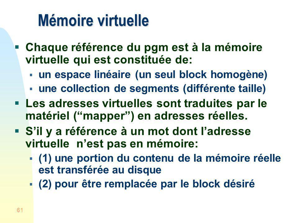Mémoire virtuelle Chaque référence du pgm est à la mémoire virtuelle qui est constituée de: un espace linéaire (un seul block homogène)