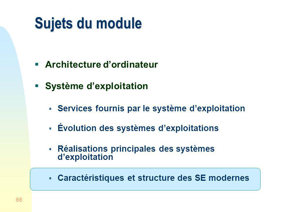 Sujets du module Architecture d'ordinateur Système d'exploitation