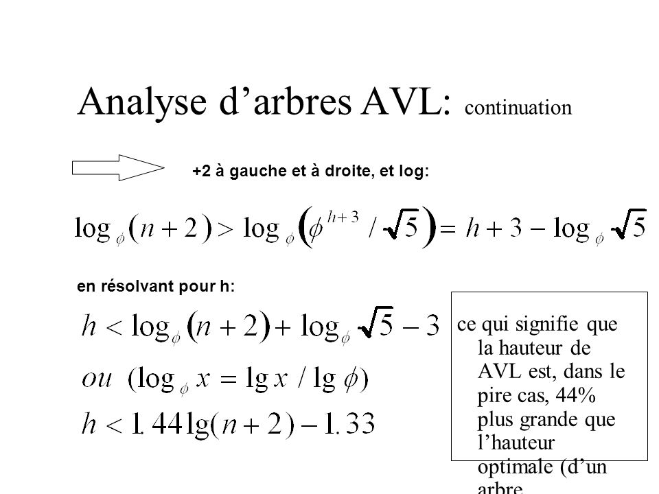 Analyse d'arbres AVL: continuation